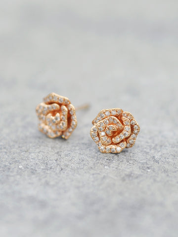 14K Blossoming Diamond Rose Posts - LUNESSA