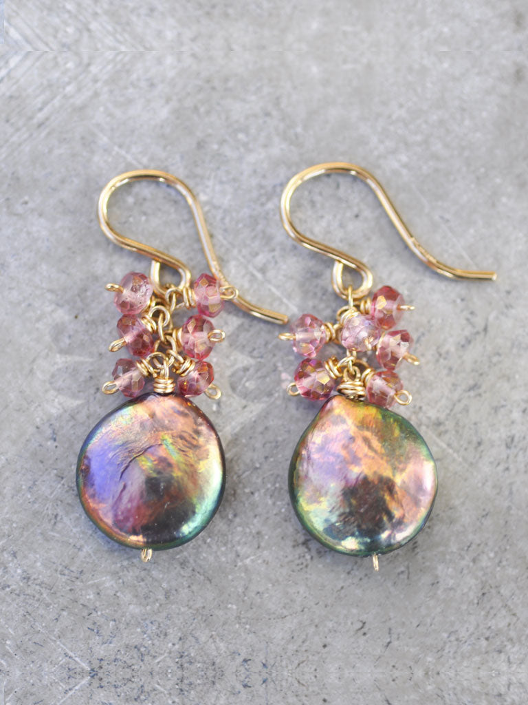 Pink Topaz & Peacock Pearl Cluster Earrings