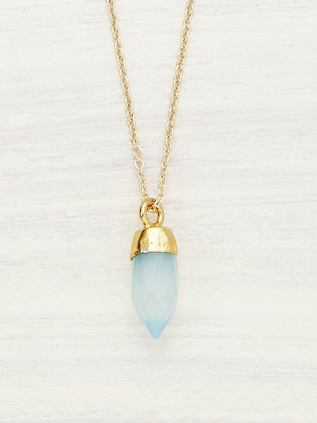 Tiny Crystal Point Necklace - Peruvian Calcite
