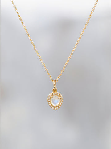 14K Rosecut Moonstone & Diamond Halo Necklace