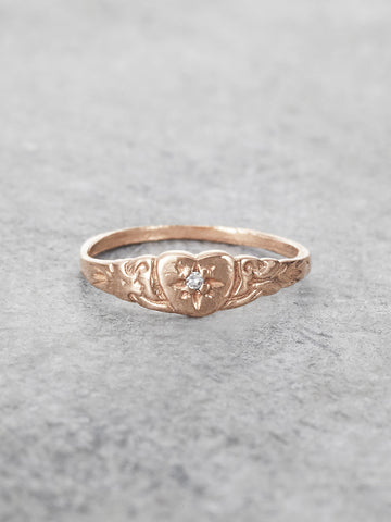 Petite Heart Diamond Pinkie Ring