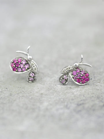 14K Pink Sapphire Butterfly Posts