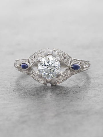 Antique 1920's Diamond & Sapphire Platinum Ring