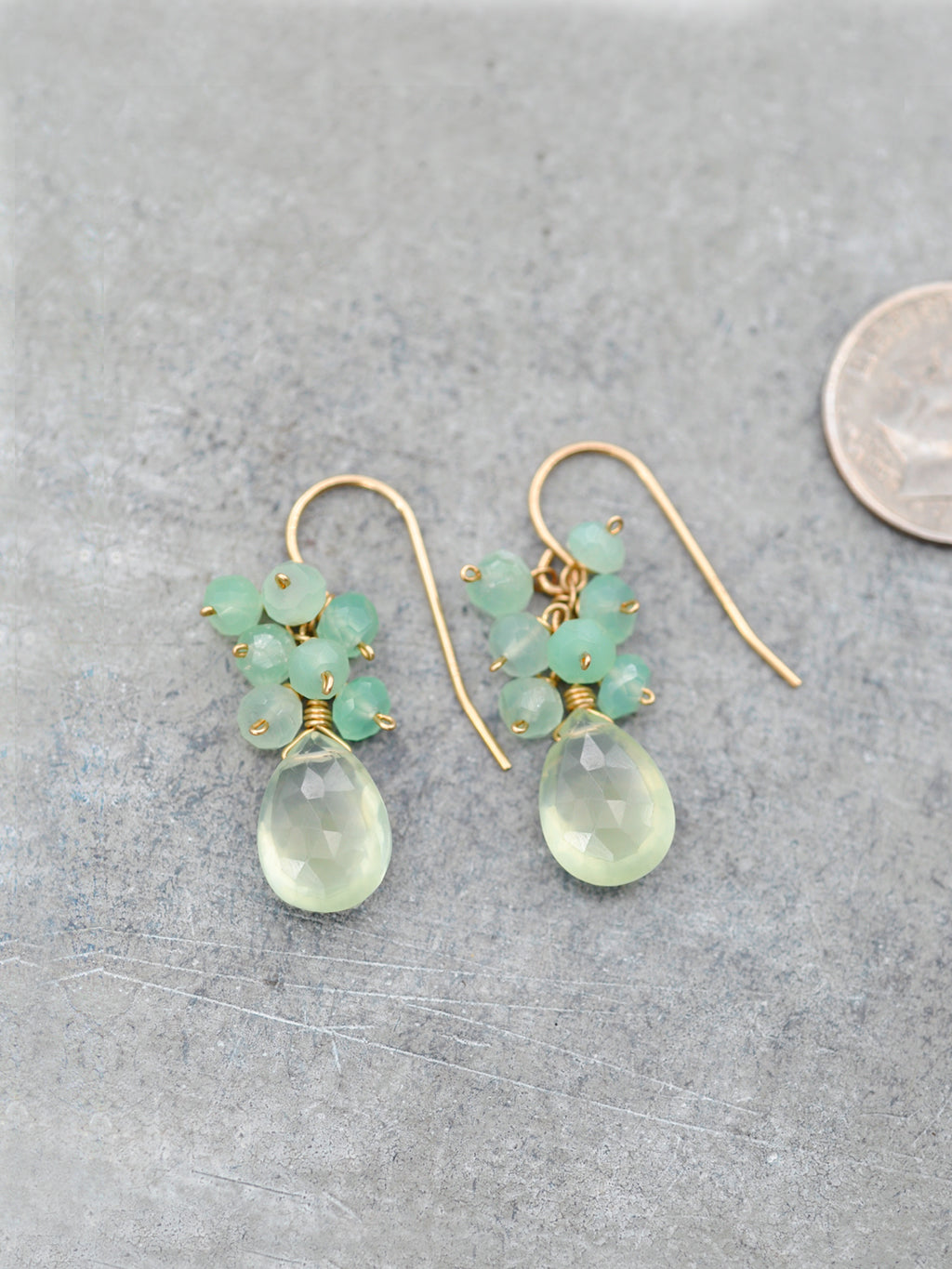 Pretty Prehnite Cluster Earrings