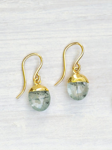 Gold dipped Prehnite Oval Earrings