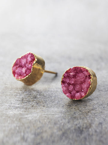 raspberry druzy post earrings