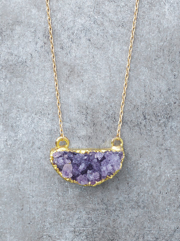 Raw Amethyst Half Moon Necklace