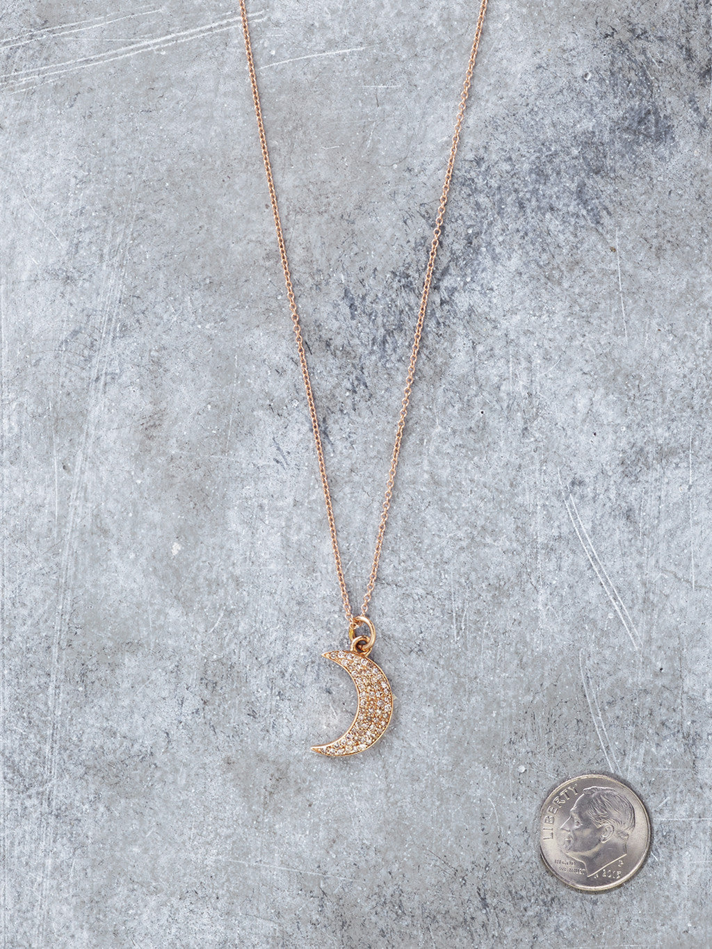 Rose Gold Diamond Moon Necklace to scale