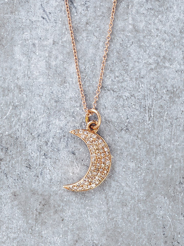 Rose Gold Diamond Moon Necklace