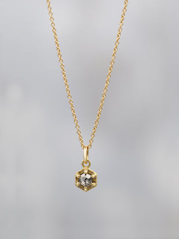 14K Tiny Rustic Hex Diamond Necklace .15CT