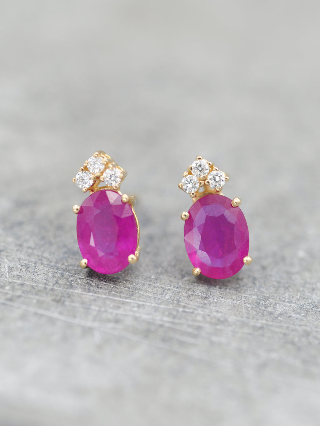 14K Ruby & Diamond Tiara Posts