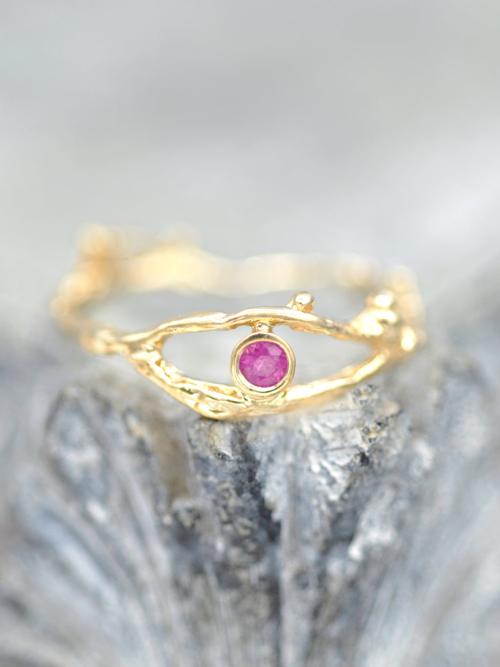 14K Enchanted Fairy Branch Ring - Pink Ruby