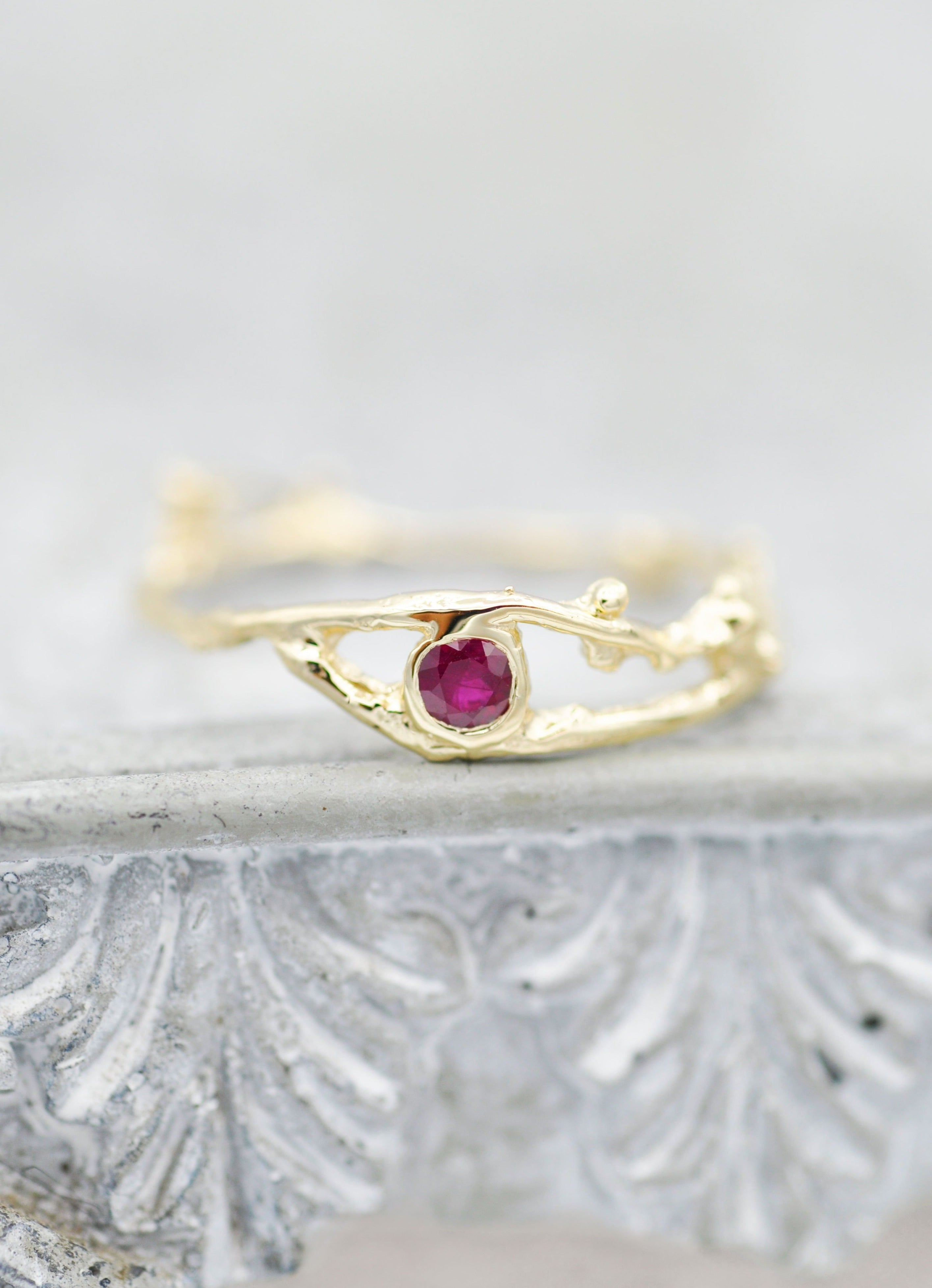 14K Enchanted Fairy Branch Ring - Ruby