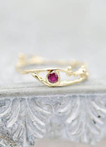 14K Fairy Branch Ring - Ruby