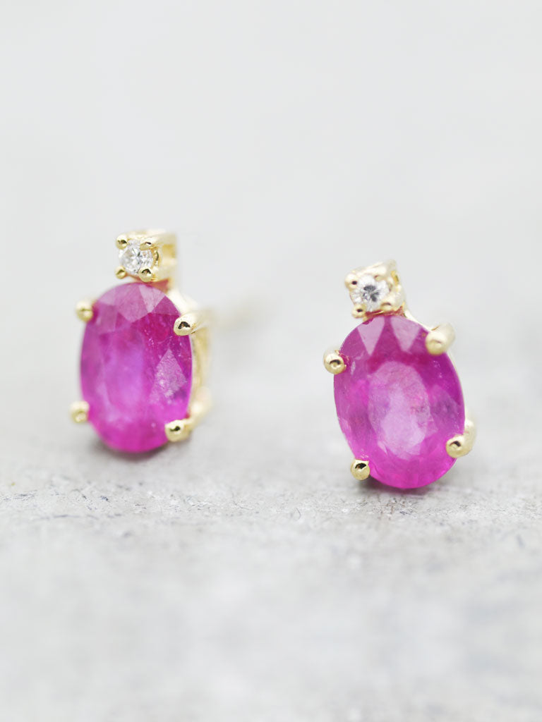 14K Oval Ruby & Diamond Posts - LUNESSA