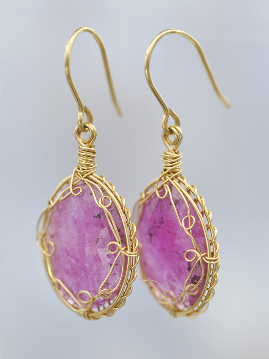 Framed Oval Pink Sapphire Earrings
