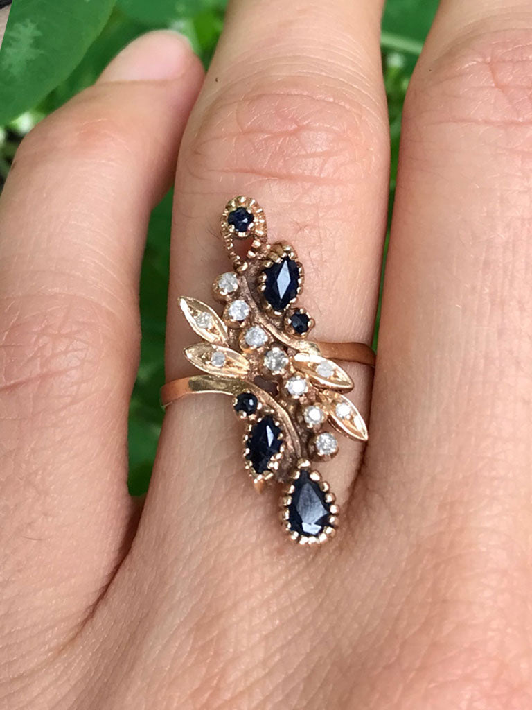 14K Antique Sapphire & Diamond Scroll Ring