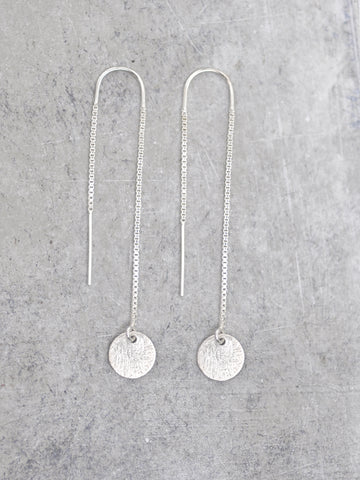 Silver Dangling Disk Threader Earrings