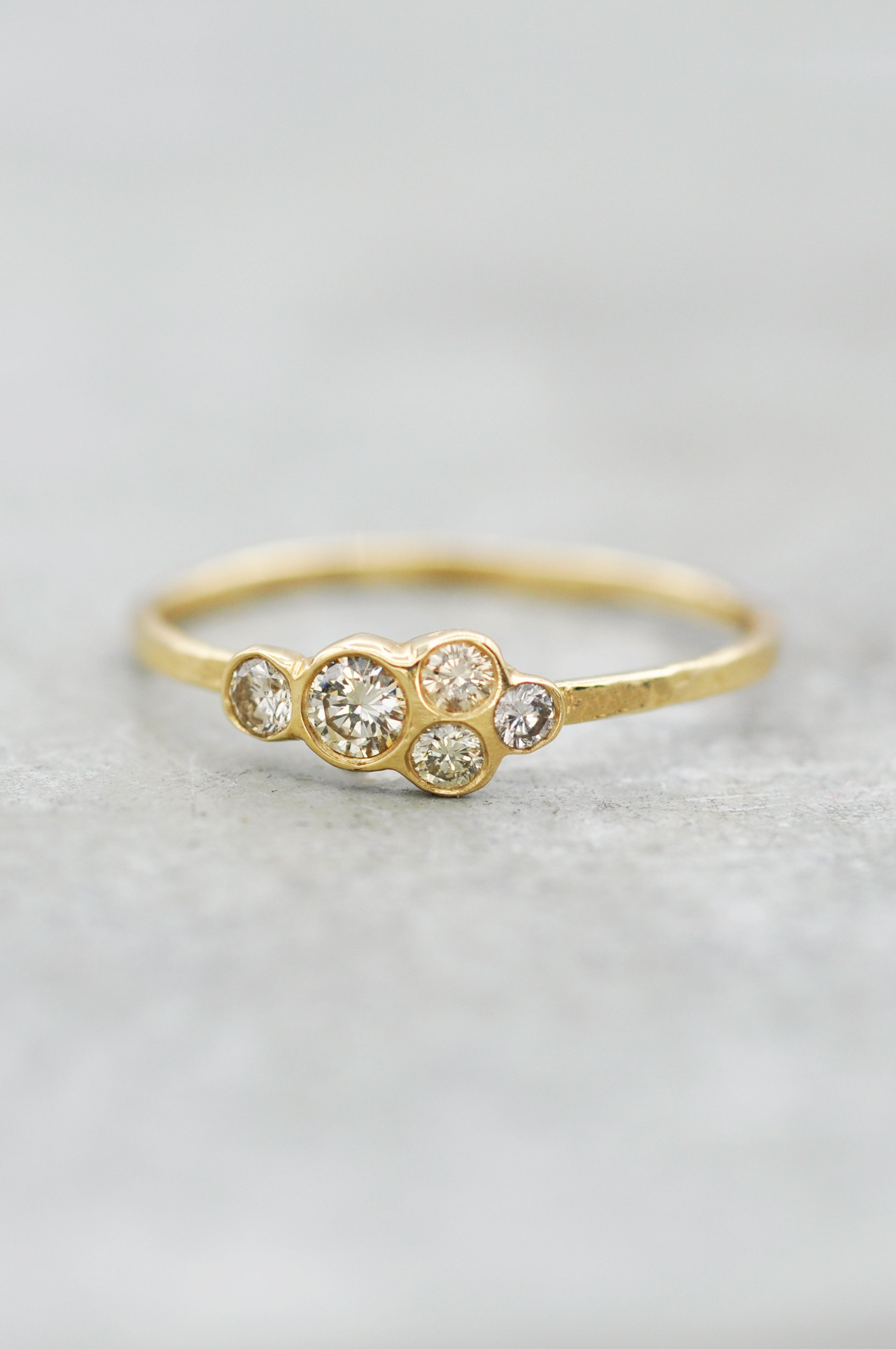 14K Champagne Diamond Cluster Ring