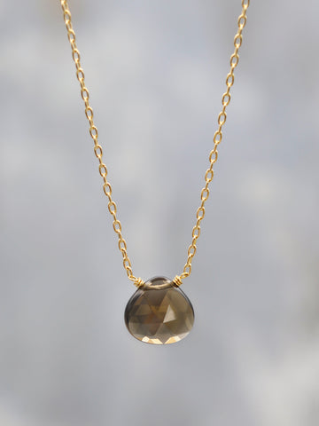 Smokey Topaz Gem Drop Necklace