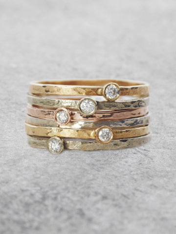 Solitaire Diamond Stacking Rings
