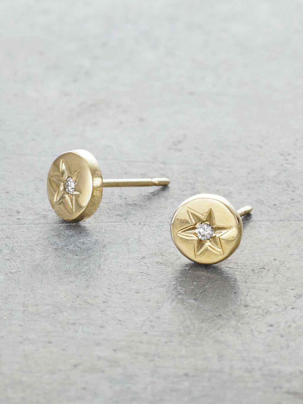 14K Boho Star Diamond Post Earrings - LUNESSA