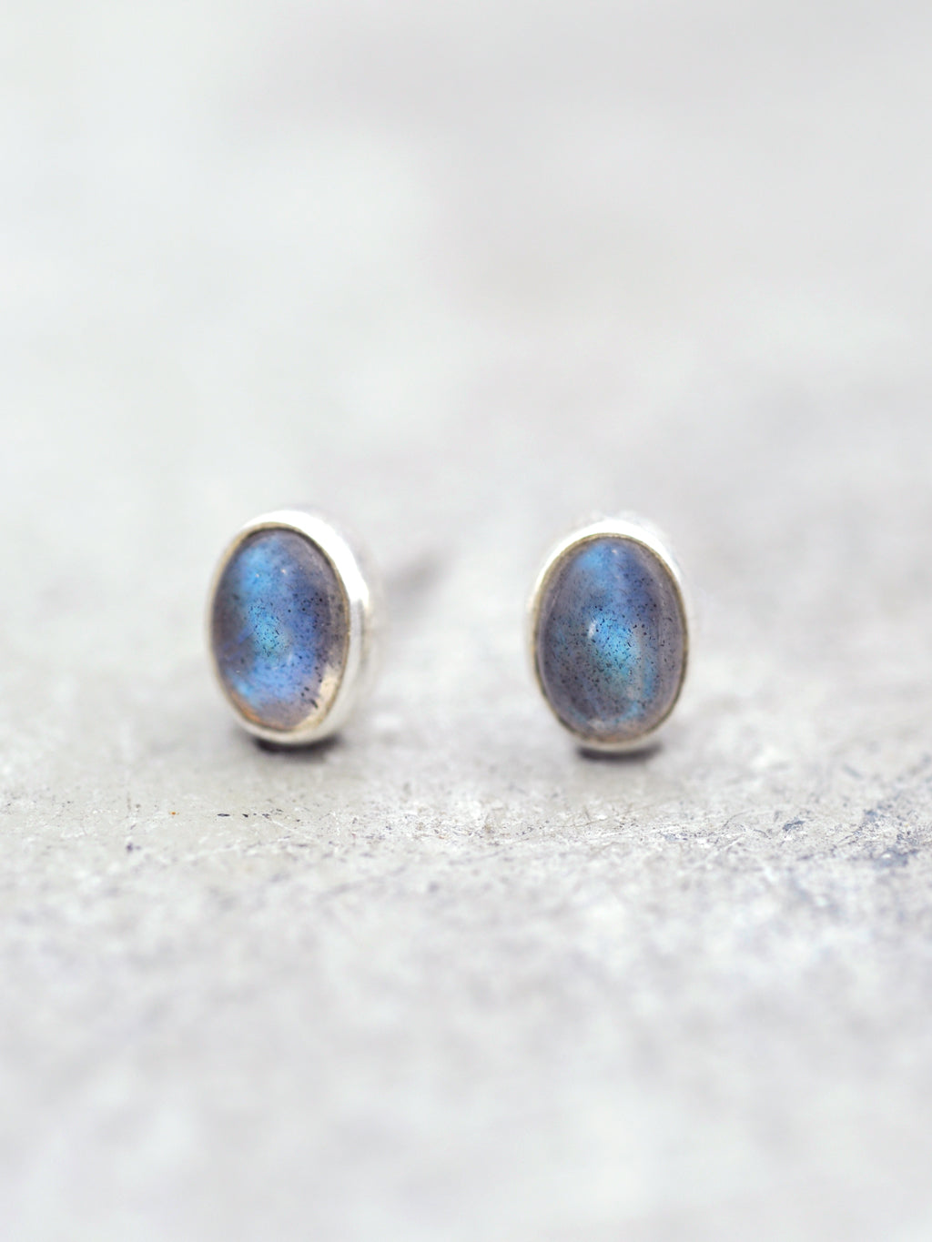 Sterling Labradorite Bezel Post Earrings