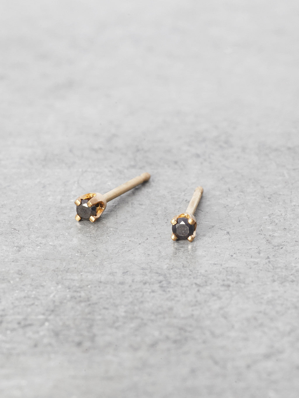 Tiniest Black Diamond Post Earrings