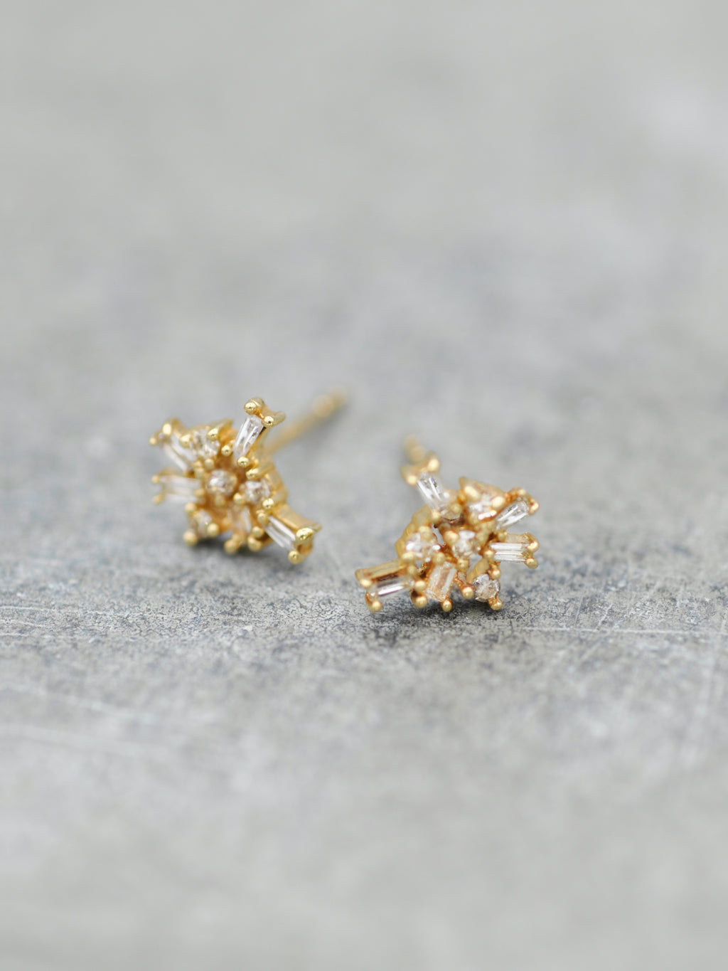 14K Diamond Baguette Cluster Earrings