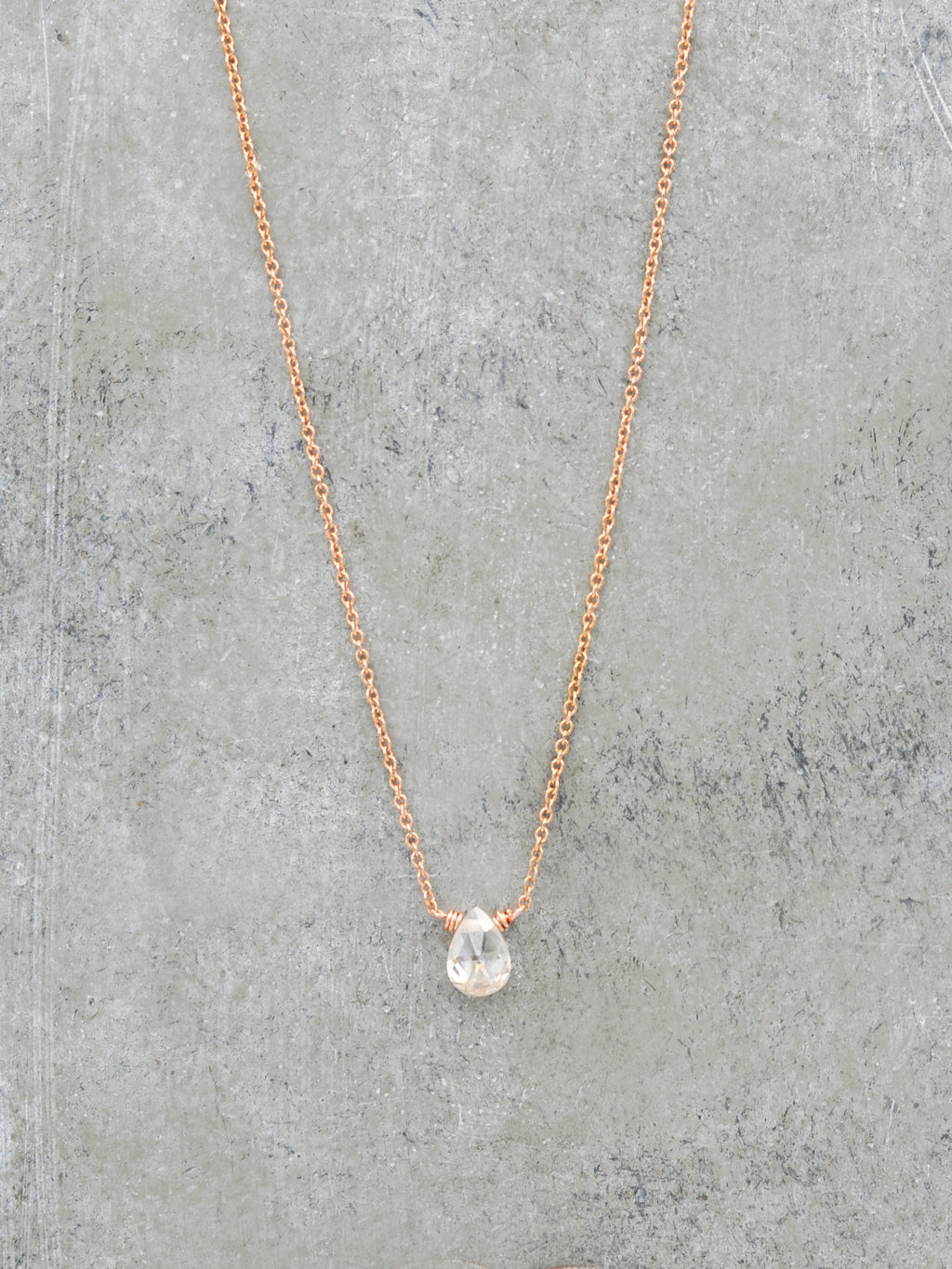 Tiny Gem Teardrop Necklace - Champagne CZ