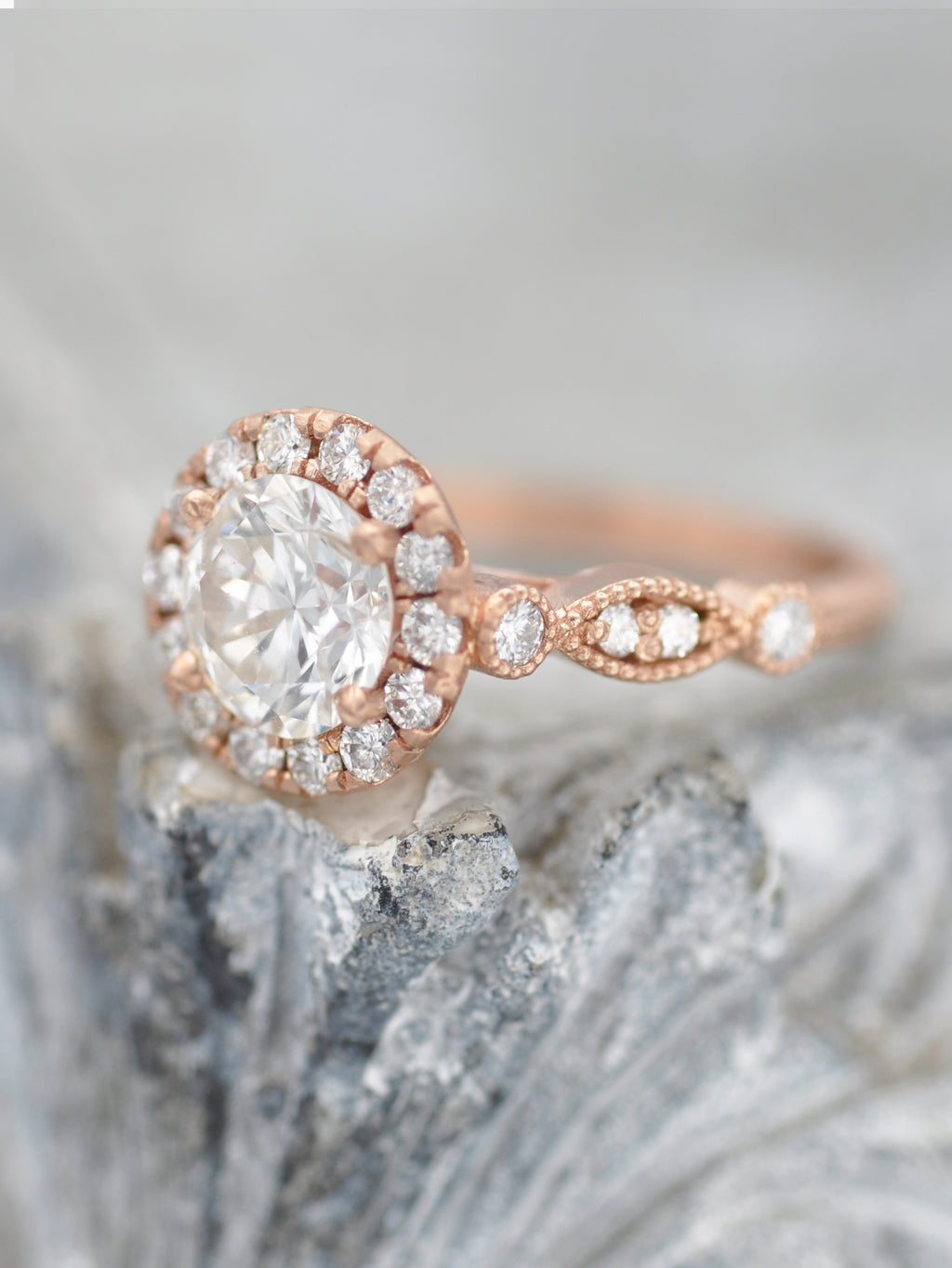 14K Tori Diamond Halo Ring