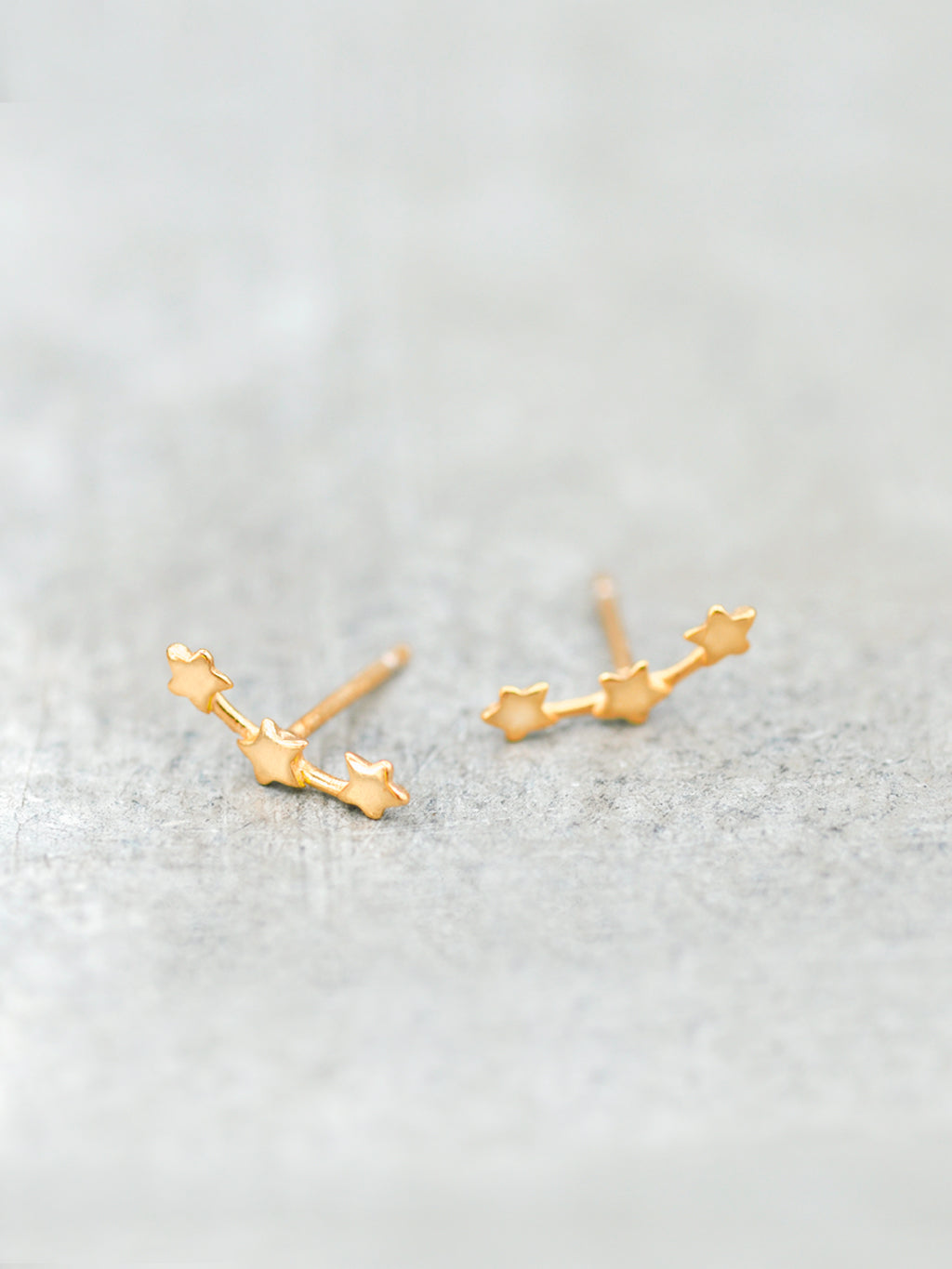 Triple Stars Constellation Post Earrings Rose Gold