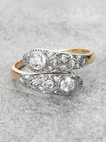Platinum & 18K Diamond Snake Ring (Victorian)