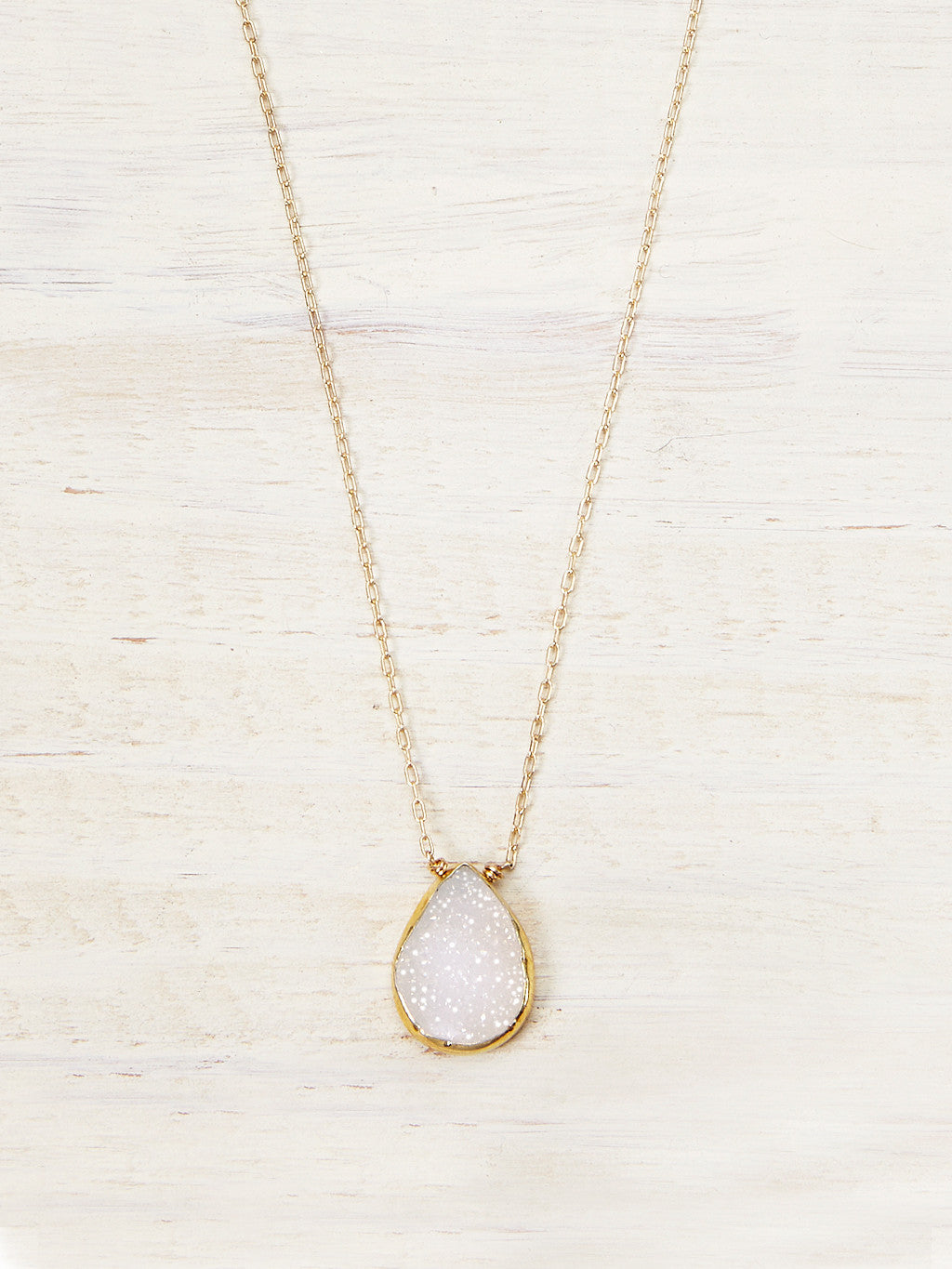 Snow White Druzy Teardrop Necklace