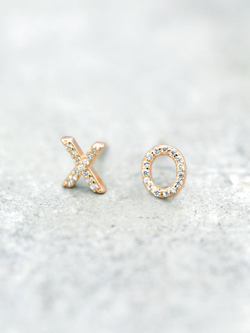 14K Gold Vermeil XO Post Earrings - CZ