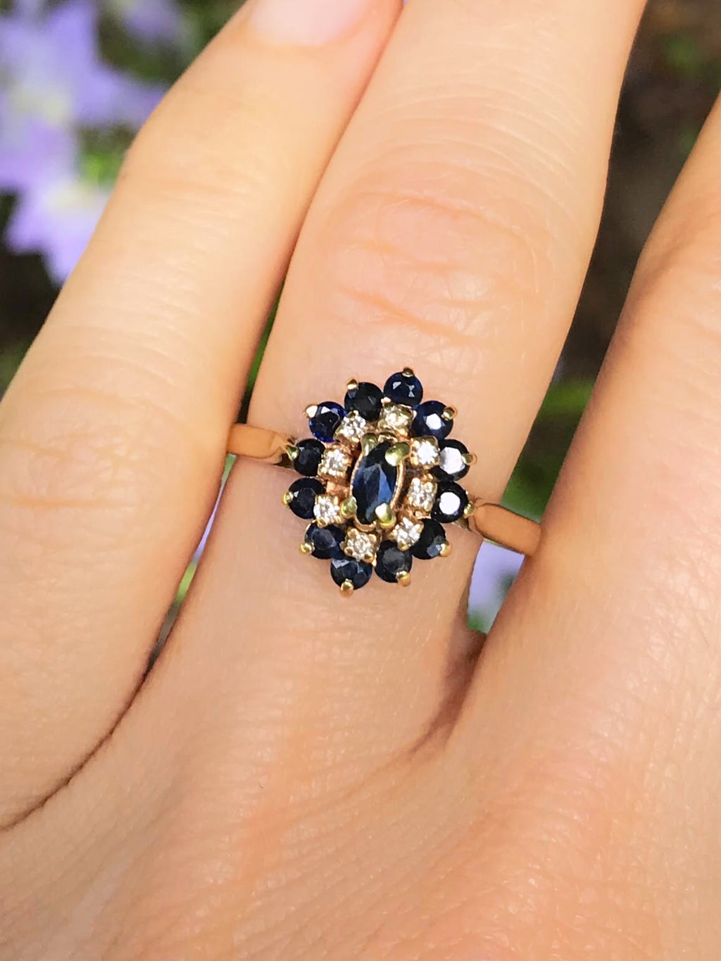 14K Antique Marquis Sapphire & Diamond Ring