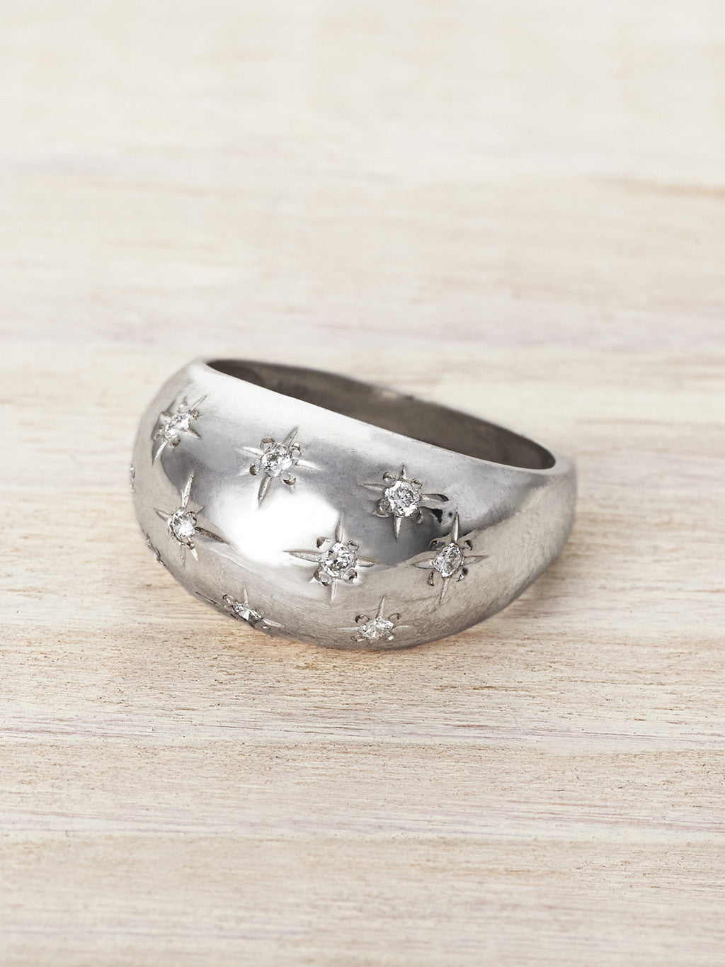 Celestial Stars Diamond Dome Ring