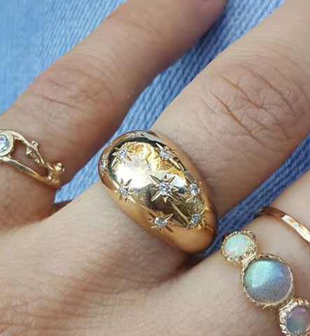 Celestial Diamond Dome Ring