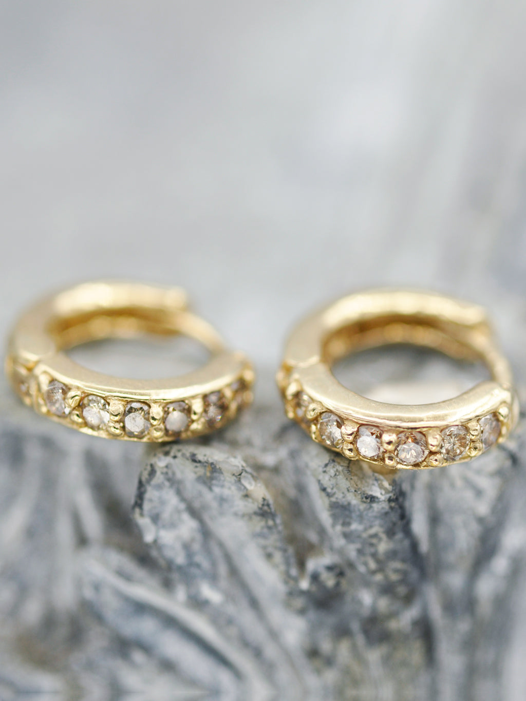14K Champagne Diamond Huggie Hoops