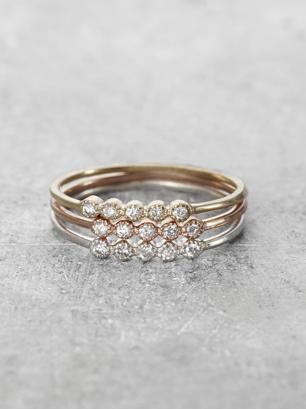 14K Daisy Diamond Stacking Rings - LUNESSA