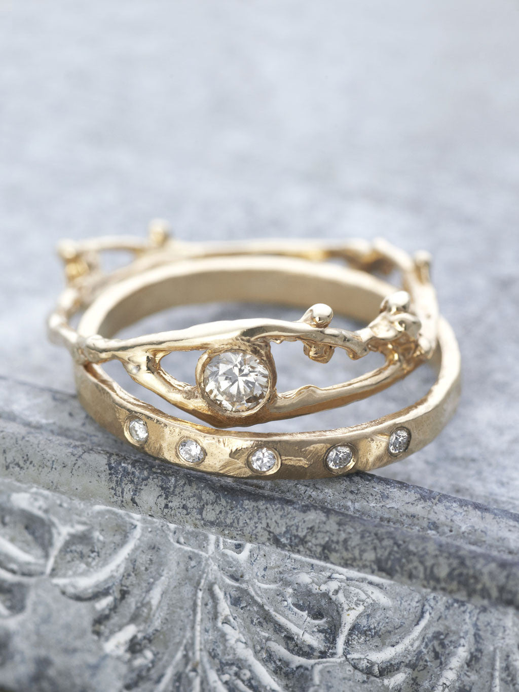 14K Champagne Diamond Fairy Branch Ring with Hammered 6 Diamond Band