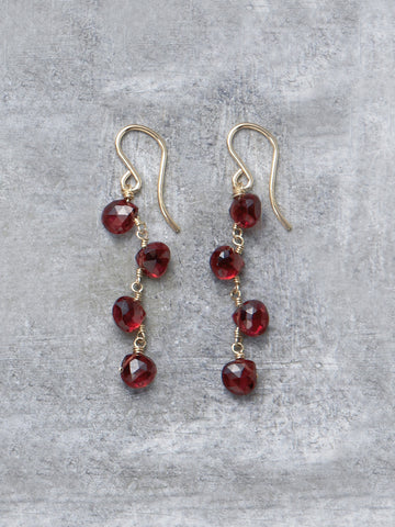 Garnet Zig Zag Earrings