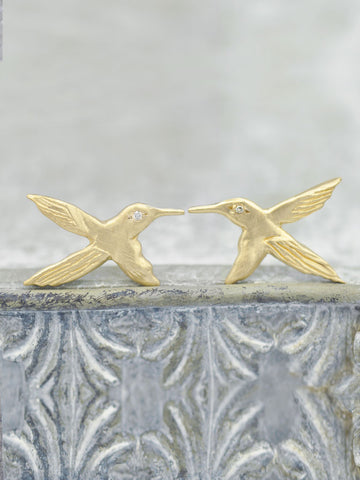 Diamond Hummingbird Post Earrings