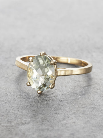 14K Gold & Green Amethyst Goddess Ring