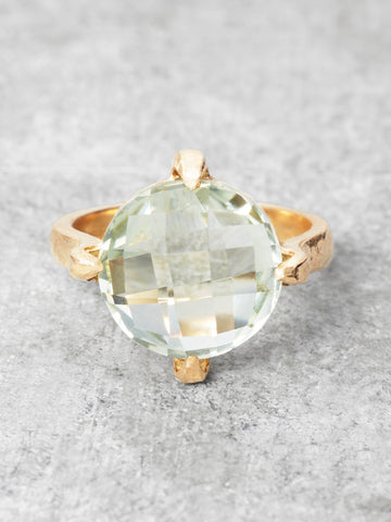 Floating Green Amethyst Orb Ring