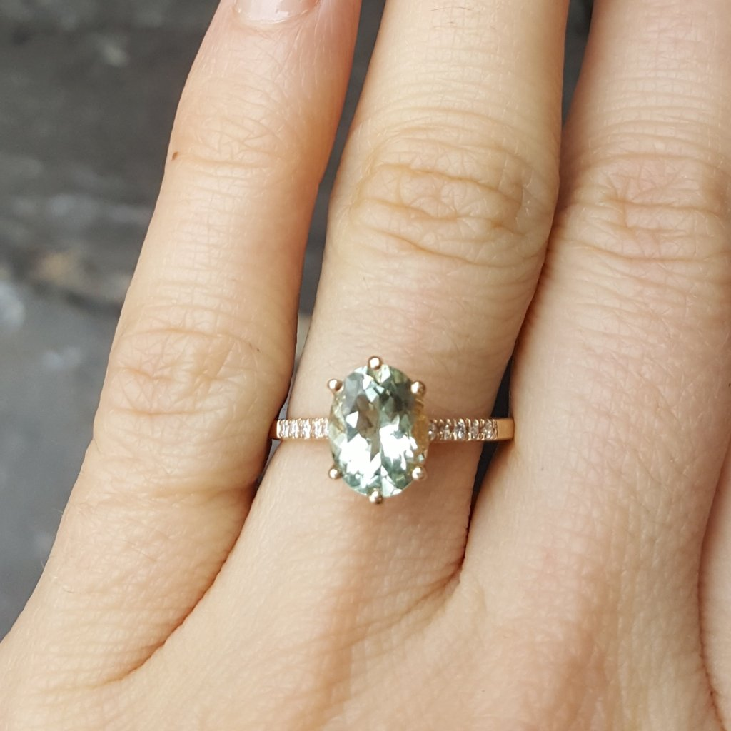 14K Marietta Ring - Green Amethyst