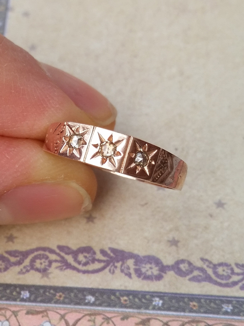 Gypsy Star Diamond Wedding Band