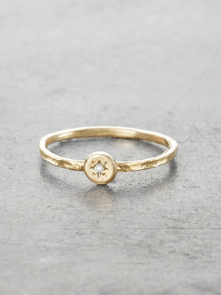 14K Diamond Gypsy Star Stacking Ring LUNESSA