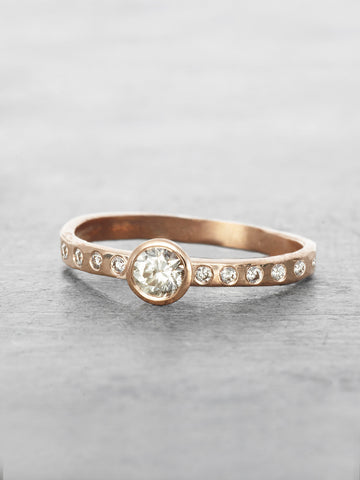 Half Eternity Rustic solitaire Diamond Ring