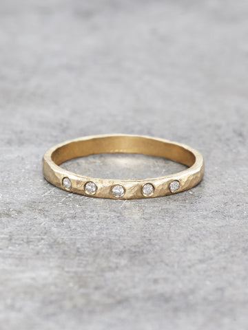 14K Hammered Five Diamond Band